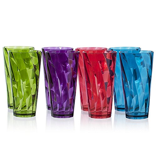 Optix 26-ounce Plastic Tumblers | set of 8 in 4 Assorted (Tumbler Drinkware Set)