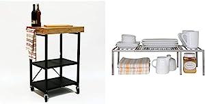 Origami Folding Kitchen Cart on Wheels -RBT-03 & Seville Classics Iron Slat Expandable Kitchen Counter and Cabinet Shelf, Platinum