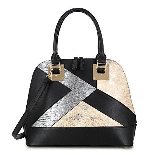 Dasein Women Snake Skin Handbags Vegan Leather Totes Patchwork Satchel Top-handle Bags with Long Shoulder Strap (6345 Domed-Black)