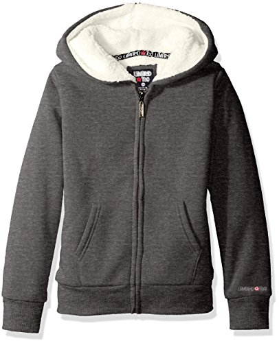 Girls Sherpa Lined Jacket (Limited Too Girls' Little Sherpa Lined Fleece Hooded Jacket, Dark Heather Grey,)