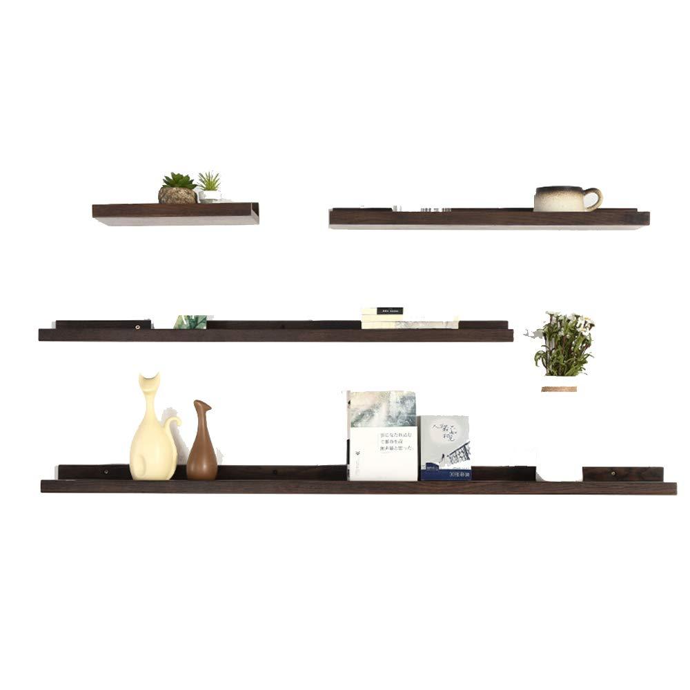 YNN 純木フローティング棚ワードパーティション壁棚寝室の装飾フレームリビングルームの壁壁掛けオーク棚、4のセット (色 : A) B07NRJZZ8X A