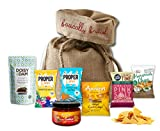 Movie Night Essentials by The Yummy Palette | Vegan Amaizin Corn Chips Popcorn Hummus Chips Salsa Coconut Lucuma Snaps in Basically British Burlap Bag