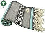 DESIGNER COLLECTION - Bersuse GOTS-Certified 100% Organic Cotton - Laguna Turkish Towel Peshtemal - Beach Bath Fouta - Aztec Bohemian Pestemal - 37X70 Inches, Mint Green/Grey