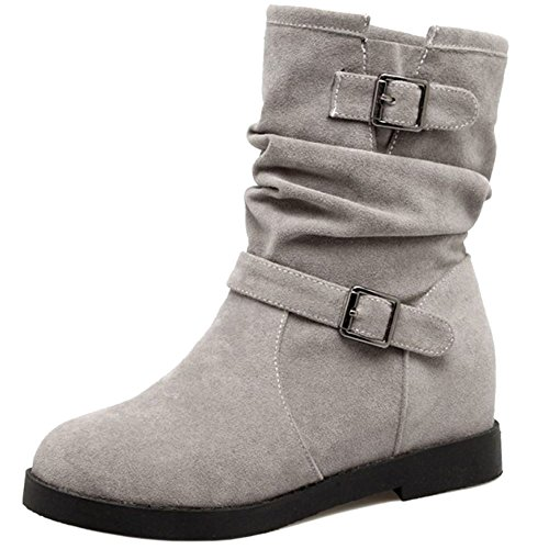 RAZAMAZA Women Ankle High Booties Buckle Slouch Low Heel Strap Casual Shoes Grey