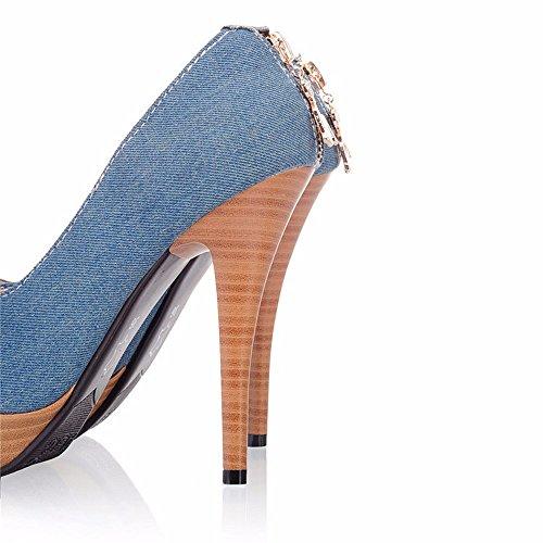 zapatos tacón boca de documental grande alto tabla Jeans zapatos fino Navy mujer impermeable zapatos de Blue qwTWECnFga