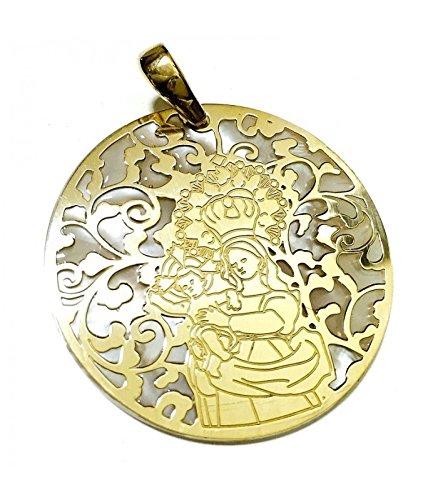 Médaille Vierge de Les Merveilles Argent Plaqué Or et Nacar 40mm