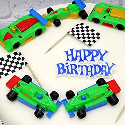 Admirable Racing Cars Birthday Cake Decoration Set Amazon Co Uk Toys Games Funny Birthday Cards Online Elaedamsfinfo