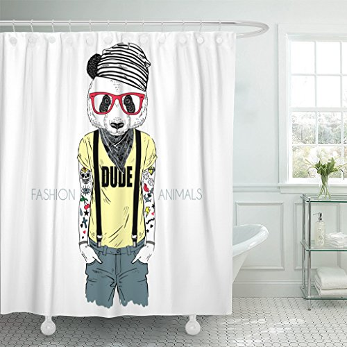 Emvency Shower Curtain Bear Tattooed Panda Hipster Boy