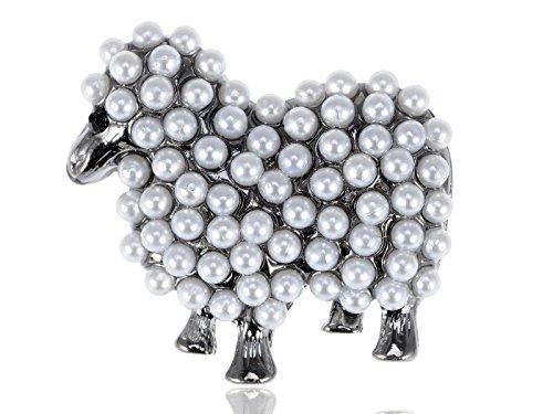 Alilang Gun Metal Tone Faux Pearl White Sheep Lamb Goat Brooch Pin (Ladies Top Gun Costume)
