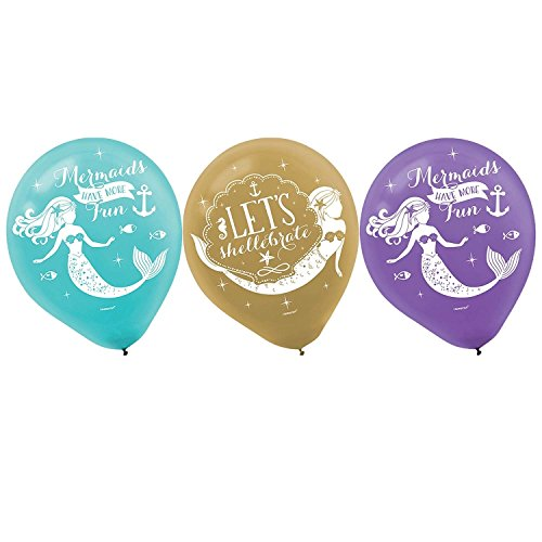 Amscan Party Supplies Mermaid Wishes Printed Latex Balloons, Multi Color for sale