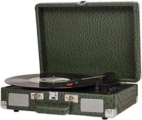 Crosley Cruiser Deluxe Vintage 3-Speed Bluetooth Suitcase Turntable, Ostrich Finish