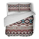 SanChic Duvet Cover Set Abstract Geometric for Ceramics Ethnic Pattern Border Native American Design Navajo Mexican Aztec Arabian Decorative Bedding Set with Pillow Sham Twin Size
