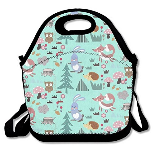 Cute Fox Rabbit Owl Hedgehog Design Mint Green Lunch Bag Insulated Handbag Lunchbox Tote Cooler Warm Pouch With Shoulder Strap For Women Men Teens Girls Kids Adults by Unoopler (Vinyl Pouch Recycled)