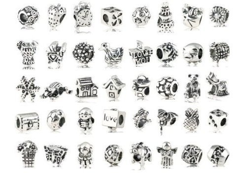 Antique Silver Plated Oxidized Metal Beads Charms Set Mix Lot - Compatible with Pandora Biagi Troll Chamilia Bracelets w/