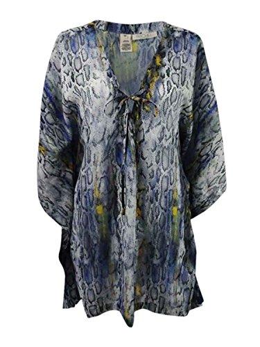 Rachel Rachel Roy Lace-up V-neck Animal Snake Print Caftan Swimsuit Bikini Cover Up Tunic Top, Multi Color, Medium