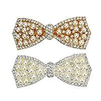 WSSROGY 2pcs Korean Style Fancy Crystal Rhinestone Pearls Bowknot Hair Clip Hair Bows Butterfly Barrette Hair Accessories for Girl Teens Women