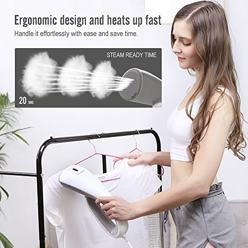 OXA Smart 1000W Handheld Garment Steamer Ultra-Compact, 20s Fast Steaming with 2 Brushes, Portable Fabric Clothes Steamer – Portable, Safe, Lightweight and Perfect for Travel & Home