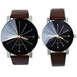 Yoyorule 1 Pair Coffee Quartz Dial Clock Leather Wrist Watch Round Case for Lovers Couples