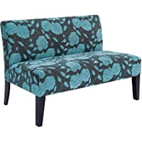 Blue Contemporary Floral Pattern Loveseat Settee Sofa for 2 | Perfect Upholstered Couch Furniture for Your Home Living Room Space | Simple, Relaxing Seating Solution in Vibrant Pattern That Adds Comfort and Style for Modern Decor Design Accent Piece