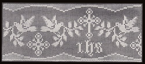 - Cross Dove & I.H.S. Filet Crochet Altar Lace Edging Pattern