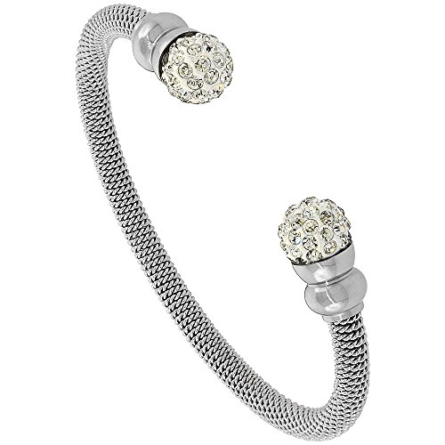 Stainless Steel Mesh Cuff Bracelet Crystal Ball Accents Rhodium Finish, 3/16 inch wide