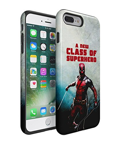 Deadpool A New Class Of Superhero 2 Piece Hard Plastic + Shock Absorbing TPU Bumper Tough Case Cover Shell For iPhone 7 Plus