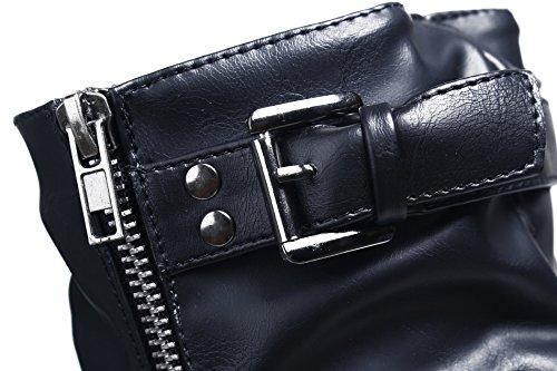 Komfortable Schuhe Stiefel Warme Casual PU Reißverschluss AgeeMi Keilabsatz Damen Schwarz SXdqvv8