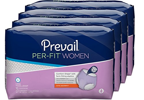 Prevail Per-Fit Extra Absorbency Incontinence Underwear for Women, Large, 72-Count