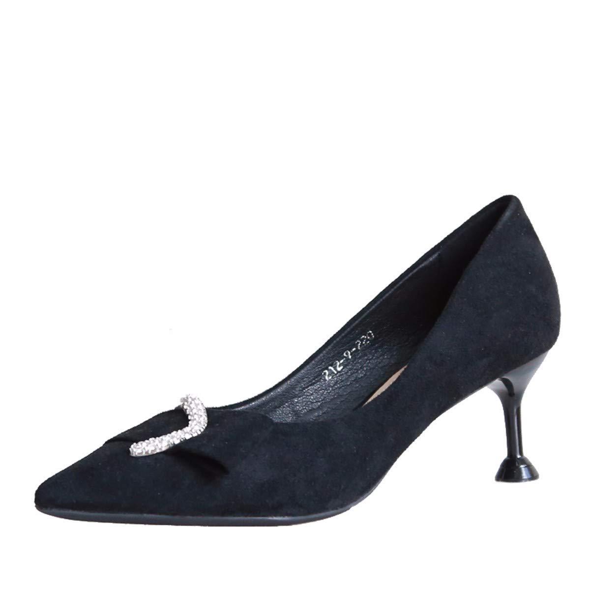 KPHY Damenschuhe/Mode-Diamant der Dünn Absätze Herbst Dünn der und Spitz Damenschuhe Samt Nudeln Bankett-Schuhe.35 Schwarz  - ca83da