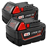 2Pack 6.0Ah 18V Replacemet Battery for Milwaukee M18 Lithium Battery XC 48-11-1850 48-11-1840 48-11-1815 48-11-1820 48-11-1852 48-11-1828 48-11-1822 48-11-1811 Cordless Tool Batteries
