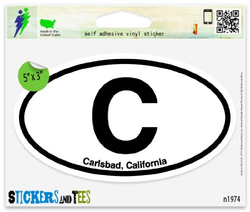 "C Carlsbad California Oval Car Sticker Indoor Outdoor 5"" x 3"""