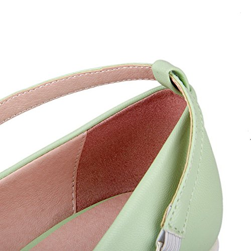 AllhqFashion Womens High Heels Soft Material Solid Buckle Round Closed Toe Pumps-Shoes Green rCJZZSxR