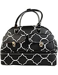 Ever Moda Quatrefoil Drop Bottom Duffel Bag 17-inch (Black)