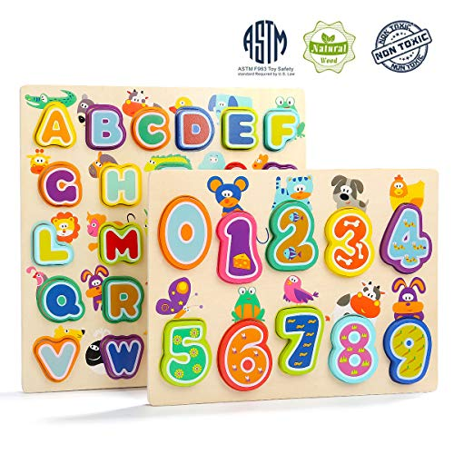 TOP BRIGHT Wooden Number and Letter Puzzles, Learning Gift for Boys and Girls 2 Year Old, Preschool Toddler Learning Alphabet Blocks Board, Pack of 2