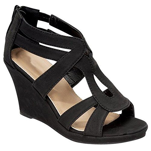 Fashion-shoes Womens Strappy Wedge Sandales Noir