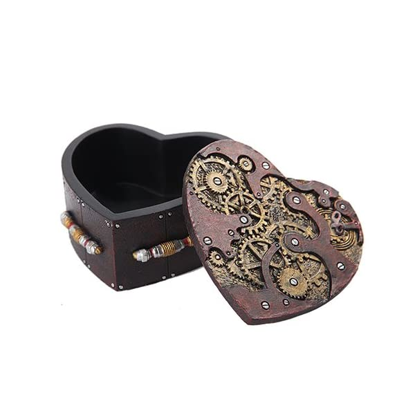Pacific Trading PTC Steampunk Mechanical Heart Shaped Box with Lid Statue Figurine 3
