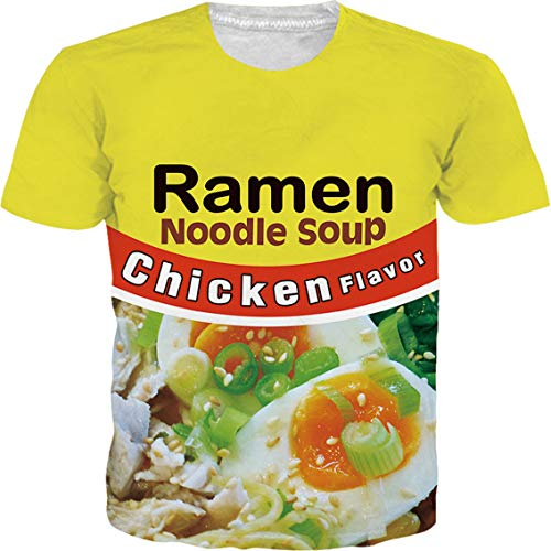 - SKYRAINBOW Personalized 3D Digital Printed Funny Ramen Noodle Soup Chicken T-Shirt Stylish Crew-Neck Short Sleeve for Men Women