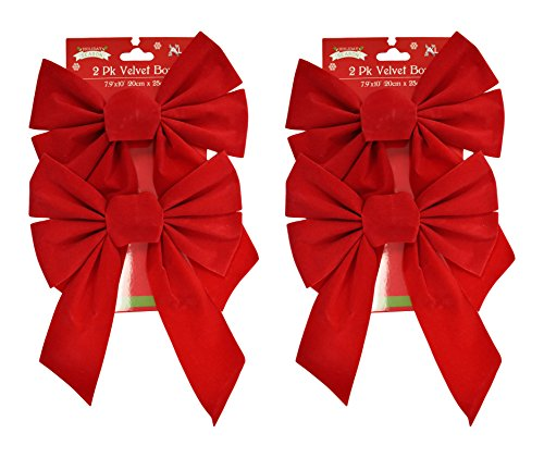 Set of 4 Red Velvet Festive Holiday Christmas Bows - Perfect as Tree Ornaments - Tree Filler - Decorative Ornaments - Perfect for Preparing for the Holidays! (Decorative Christmas)