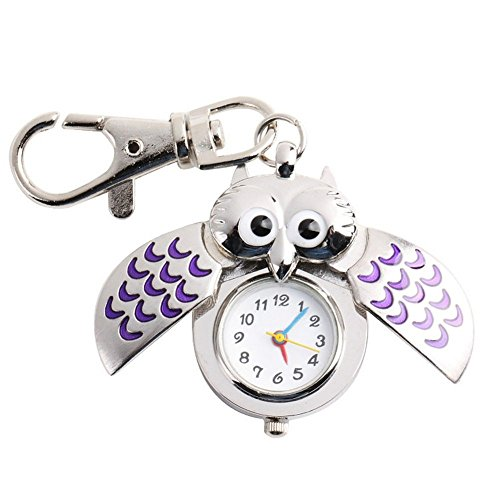 Second Hand Costumes (Chicone Vintage Owl Pocket Keychain Stainless Steel Quartz Watch for Boys Girls)