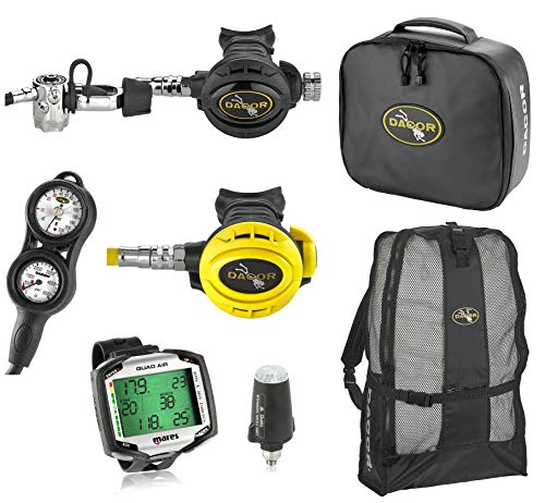 Mares Quad Air Integrated Dive Computer with Transmitter, with Complete Primary Scuba Regulator High Performance Dive Gear Package