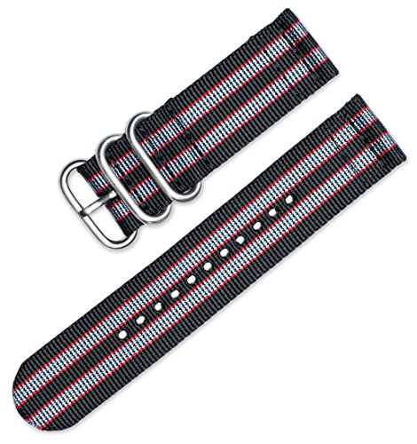 deBeer 22mm Military Ballistic Nylon 2-Piece Watch Band/Watch Strap - Black with Grey & Red Stripes (Mens Black Multi Band)