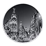 iPrint Thick Round Beach Towel Blanket,Black and White Decorations,Madrid City Night Spain Main Street Ancient Architecture Decorative,Grey,Multi-Purpose Beach Throw