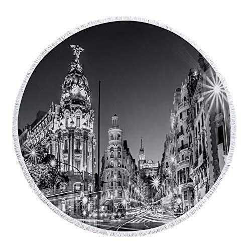 iPrint Thick Round Beach Towel Blanket,Black and White Decorations,Madrid City Night Spain Main Street Ancient Architecture Decorative,Grey,Multi-Purpose Beach Throw by iPrint