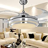 small aluminum fan blade - Tipton Light Double layer Fan with Trichromatic 36 Inch with Aluminum Modern Style with Remote Control has 4 Clean Acrylic Blades