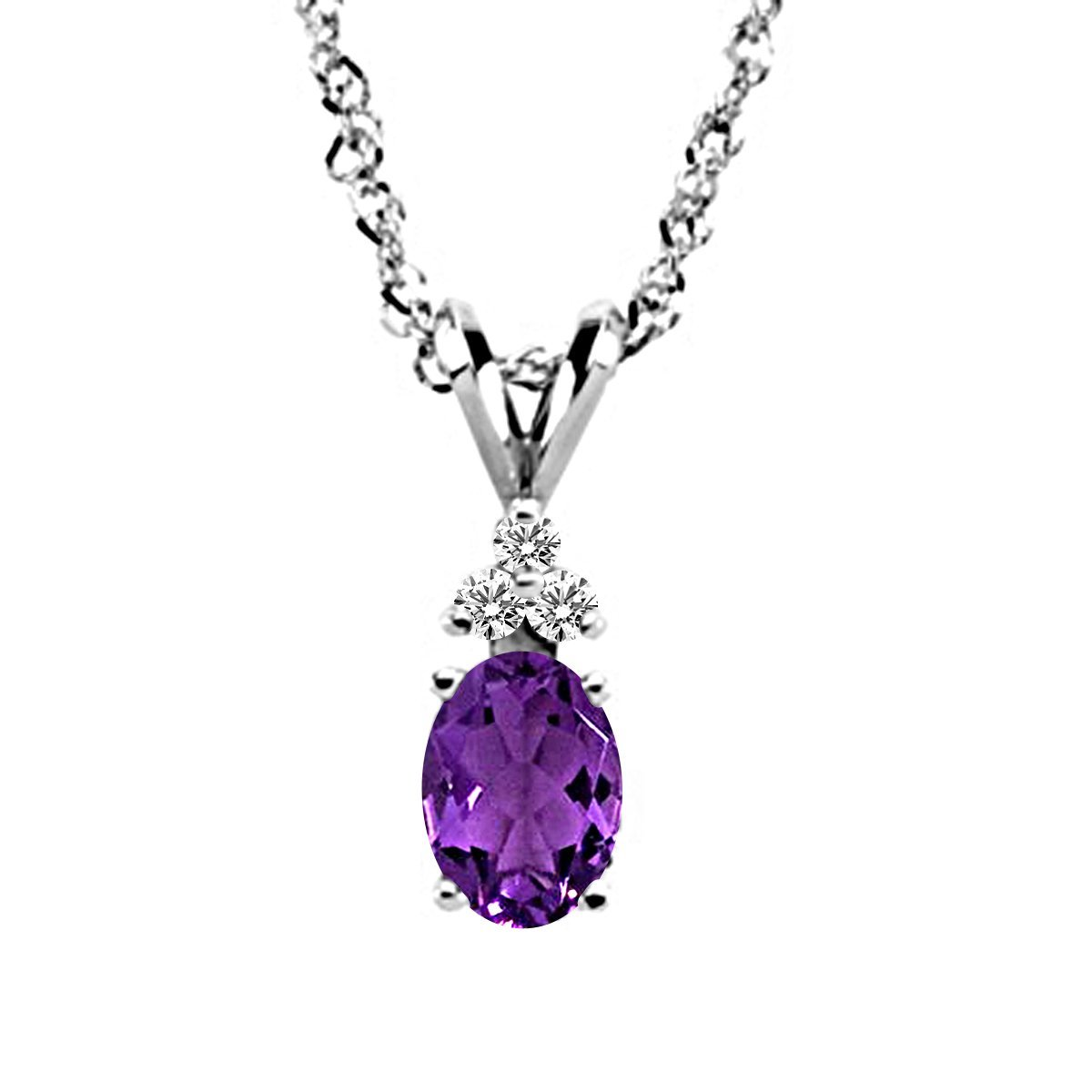 DTJEWELS Oval /& Round 0.06 Ct Amethyst /& Sim Diamond Pendant Necklace W//18 in 14K White Gold Plated