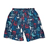 i play. Baby Boys Trunks with Reusable Absorbent Swim Diaper, Navy Sailboat, 18 Months