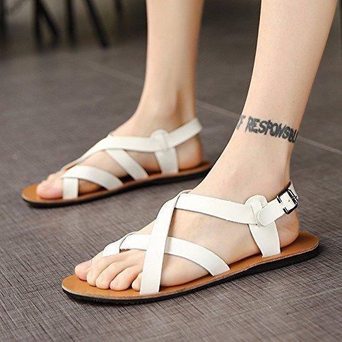 sandali Uomini gioventù vera pelle estate tendenza Spiaggia sandali biancapersonalità Uomini Roma scarpa ,bianca,US=7,UK=6.5,EU=40,CN=40