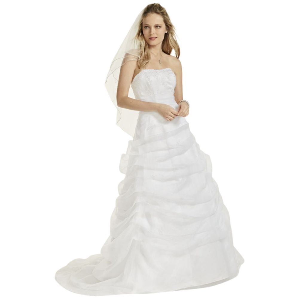 Organza Draped Wedding Dress with Beaded Lace Style L9479, White, 12 by David's Bridal