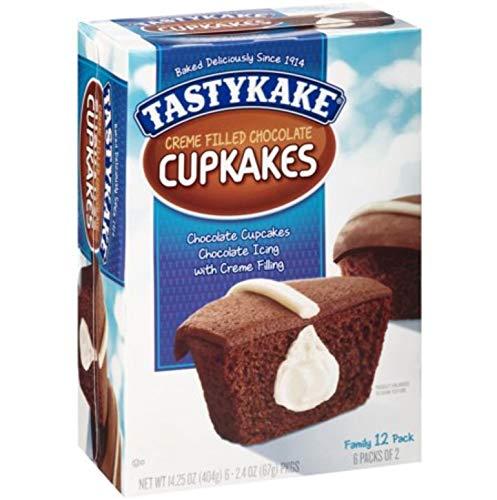 Tastykake Creme Filled Chocolate Cupkakes Chocolate Icing 12ct Desserts 1 Family Pack Box -