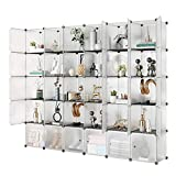 KOUSI Portable Storage Shelf Cube Shelving Bookcase Bookshelf Cubby Organizing Closet Toy Organizer Cabinet, Transparent White, 30 Cubes Storage